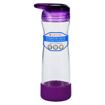 Full Circle Home Water Bottle - Travel - Glass - Hydrate Mate - Elderberry - 16 oz