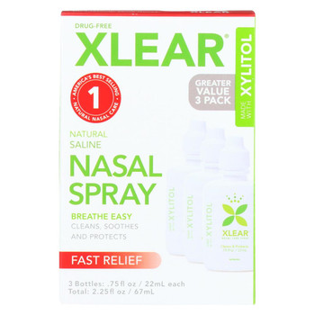 Xlear Saline Nasal Spray with Xylitol - Case of 10 - 3 Count
