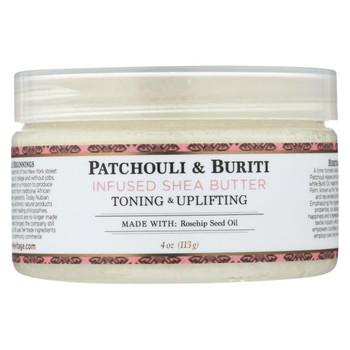 Nubian Heritage Shea Butter - 100 Percent Organic - Patchouli and Buriti - 4 oz