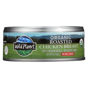 Wild Planet Organic Roasted Chicken Breast - No Salt Added - Case of 12 - 5 oz.