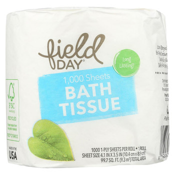 Field Day 1, 000 Sheets Bath Tissue - Single Roll - Case of 80 - 1 Roll