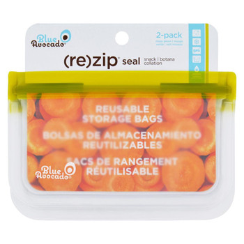 Blue Avocado - Bag - Re-Zip - Snack - Green - 2 Count