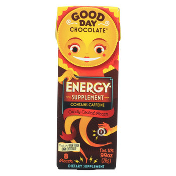 Good Day Chocolate Chocolate Pieces - with Energy - Case of 12 - .99 oz