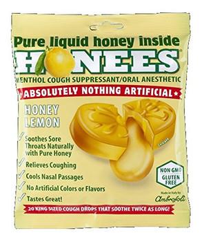 Honees Cough Drops - Honey Lemon - Lemon Menthol - 20 Cough Drops