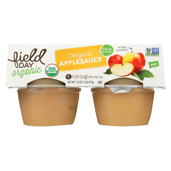 Field Day Organic Grab and Go Apple Sauce - Original - Case of 18 - 4 oz.