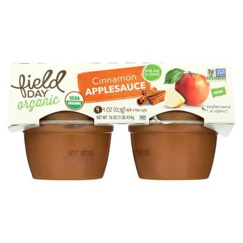 Field Day Organic Grab and Go Apple Sauce - Cinnamon - Case of 18 - 4 oz.