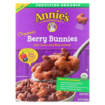 Annie's Homegrown Organic Berry Bunnies Oat - Corn And Rice Cereal - Case of 10 - 10 oz.