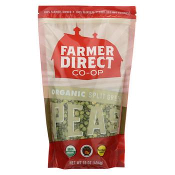 Farmer Direct Co-Op Peas - Organic - Split Green - Case of 12 - 1 lb.