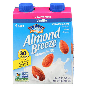 Almond Breeze - Almond Milk - Unsweetened Vanilla - Case of 6 - 4/8 oz.