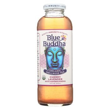 Blue Buddha Organic Wellness Tea - Cherry Lavender with Ashwagandha - Case of 12 - 14 oz.