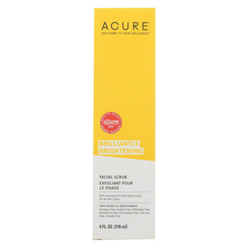 Acure - Brightening Facial Scrub - Argan Extract and Chlorella - 4 FL oz.