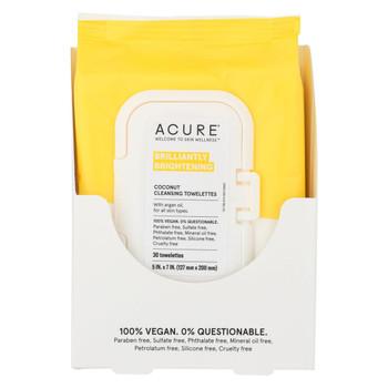Acure Towelettes - Argan + Coconut Oil - 30 count