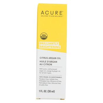 Acure - Argan Oil - Brilliantly Brightening - Citrus Ginger - 1 fl oz