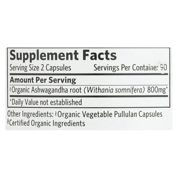Organic India Ashwagandha Capsules - Bottle - 180 Vege Capsules
