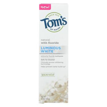 Tom's of Maine Toothpaste - Luminous - Spearmint - Case of 6 - 4.7 oz