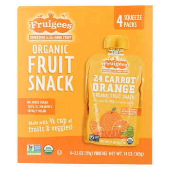 Fruigees Fruit Juice Snack - Organic - Carrot Orange - Case of 6 - 14 oz