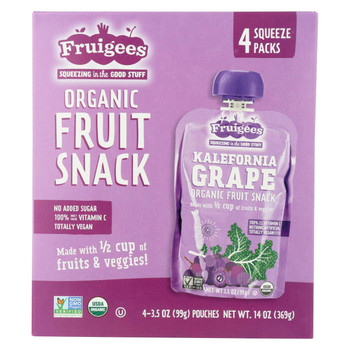Fruigees Fruit Juice Snack - Organic - Kali Grape - Case of 6 - 14 oz
