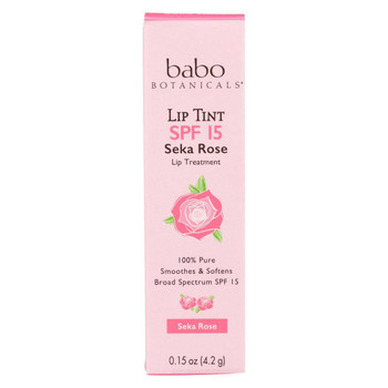 Babo Botanicals Tinted Lip Balm - Seka Rose - Case of 12 - .15 oz.