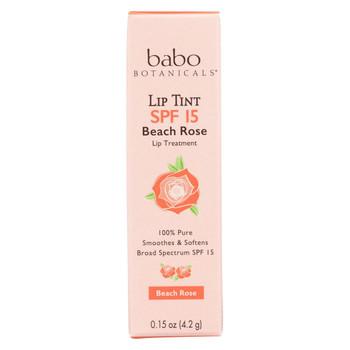 Babo Botanicals - Tinted Lip Balm - Beach Rose - Case of 12 - .15 oz.