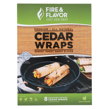 Fire and Flavor Grilling Wraps - Cedar - Case of 18 - 8 count