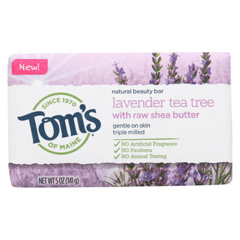 Tom's of Maine Beauty Bar Soap - Lavender Tea Tree - Case of 6 - 5 oz