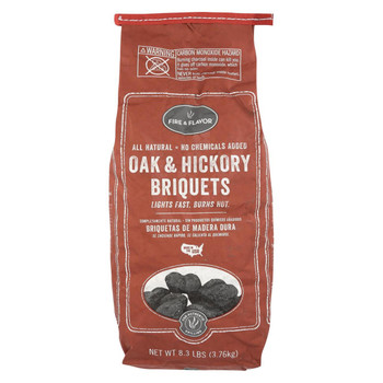 Fire and Flavor Charcoal - Briquet - Oak - Hick - Case of 6 - 8.3 lb.