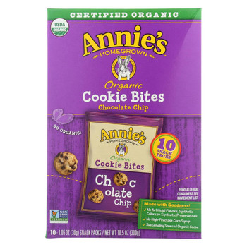 Annie'S Homegrown Cookie Bites Chocolate Chip 10- 1.05 - Case Of 6 - 10 Ct