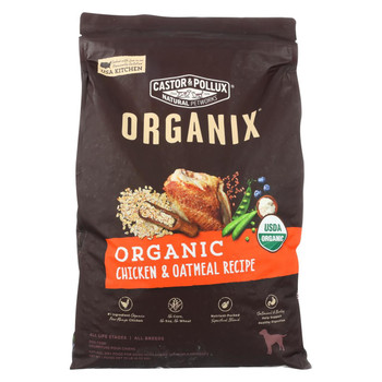 Castor and Pollux Organix - Organic - Dog - Chicken/Oatmeal - Case of 1 - 10 lb.