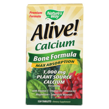 Nature's Way - Alive! Calcium Bone Formula - Max Absorption - 120 Tablets