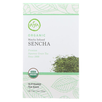 Aiya Tea - Organic Matcha - Infused Sencha Tea - Case of 6 - 15 Bag