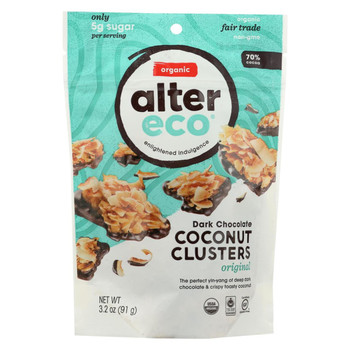Alter Eco Americas Chocolate - Organic - Dark Chocolate Coconut Clusters - Case of 12 - 3.2 oz