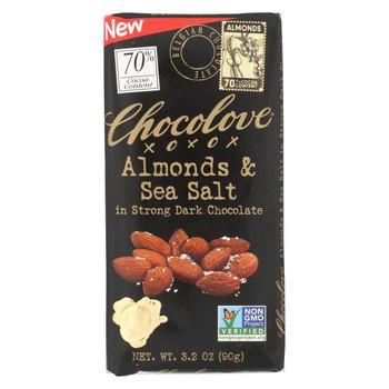 Chocolove Xoxox - Bar - Almond - Sea Salt - 70% Dark Chocolate - Case of 12 - 3.2 oz