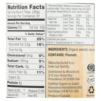 Woodstock Organic Easy Spread Peanut Butter - Crunchy - 35 oz.