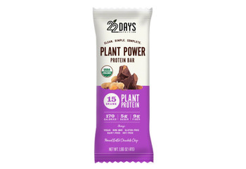 22 Days Nutrition - Plant Power Protein Bar - Chocolate Chip - Case of 12 - 1.66 oz.