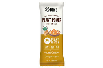 22 Days Nutrition - Plant Power Protein Bar - Chunky Peanut Butter - Case of 12 - 1.55 oz.