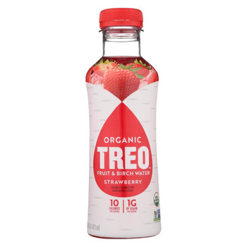 Treo Birch Water Beverage - Strawberry - Case of 12 - 16 fl oz.