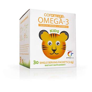 Coromega Kids Omega-3 Fish Oil Squeeze Packets - Tropical Orange - 30 Count