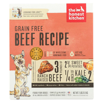 The Honest Kitchen - Dog Food - Grain-Free Beef Recipe - Case of 6 - 2 lb.