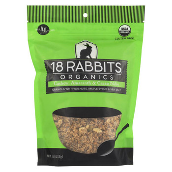 18 Rabbits Organic Granola - Cashew, Amaranth and Cacao Nibs - Case of 6 - 11 oz.