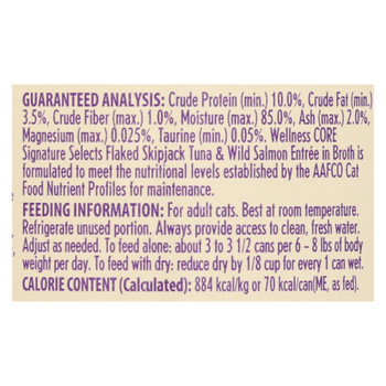 Wellness Pet Products - Signature Selects Cat Food - Skipjack Tuna and Wild Salmon Entrée in Broth - Case of 12 - 2.8 oz.