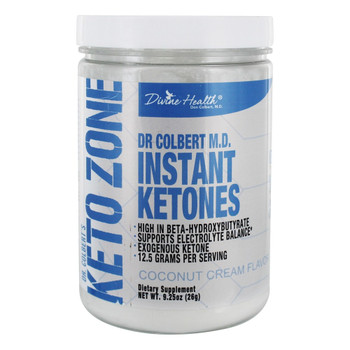 Divine Health - Keto Zone - Instant Ketones Powder - Coconut Cream - 9.26 oz.