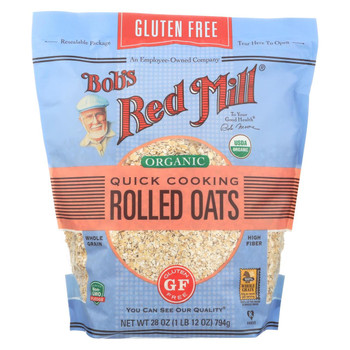 Bob's Red Mill - Organic Quick Cooking Rolled Oats - Gluten Free - Case of 4-28 OZ