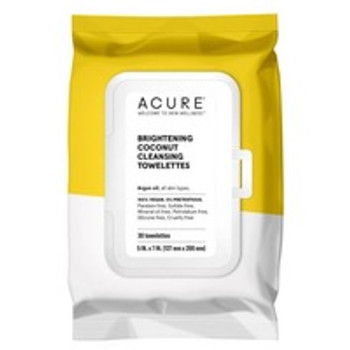 Acure - Towelettes - Brightening Coconut - Case of 4 - 30 Count