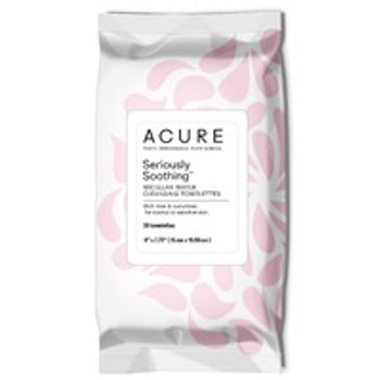 Acure - Micellar Water Cleansing Towelettes - Seriously Soothing - Case of 3 - 30 Count