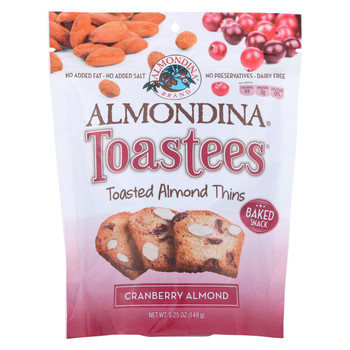Almondina - Toastees - Toasted Almond Thins - Cranberry Almond - Case of 12 - 5.25 oz.