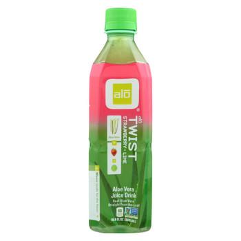 Alo - Aloe Vera Juice Drink - Strawberry Lime Twist - Case of 12 - 16.9 fl oz.