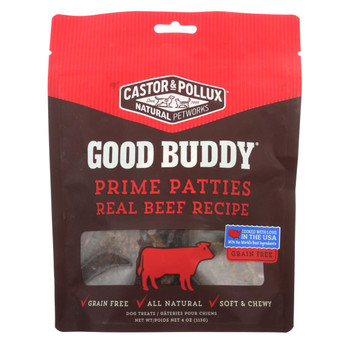 Castor and Pollux - Good Buddy Prime Patties - Real Beef Recipe - Case of 6 - 4 oz.