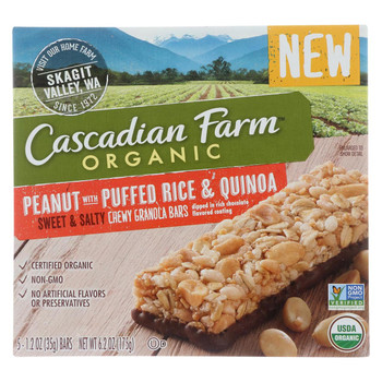 Cascadian Farm - Chewy Granola Bars - Peanut with Puffed Rice and Quinoa - Case of 12 - 6.2 oz.