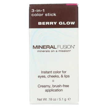 Mineral Fusion - 3-in-1 Color Stick - Berry Glow - 0.18 oz.