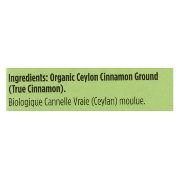 Spicely Organics - Ground Ceylong Cinnamon Box - Case of 6 - 0.45 oz.